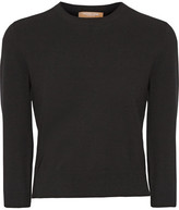 Michael Kors Cropped Stretch-knit Sweater - Black