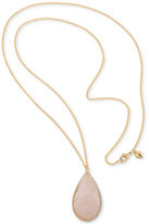 Carolee Gold-Tone Long Pink Stone Pendant Necklace