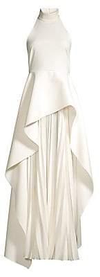 SOLACE London Women's Lavina Layered High-Low Pleated Chiffon Maxi Dress