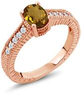 Gem Stone King 1.10 Ct Oval Whiskey Quartz White Created Sapphire 18K Rose Gold Engagement Ring