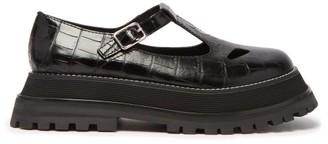 Burberry Aldwych Crocodile-effect Leather T-bar Flats - Womens - Black