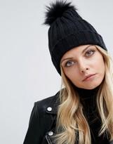 Missguided Faux Fur Pom Pom Beanie Hat