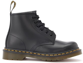 Dr. Martens Amphibious 101 Boot In Black Leather With Yellow Stitching