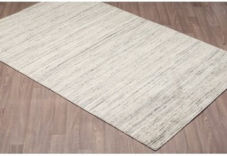 Gracie Oaks Laux Solid Texture Hand Woven Wool Gray Area Rug Gracie Oaks Rug Size: Rectangle 5' x 8'
