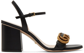 Gucci Black GG Marmont Heeled Sandals