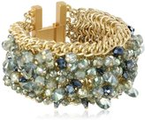 "Kenneth Cole New York ""Woven"" Faceted Bead Mesh Bracelet, 7"""