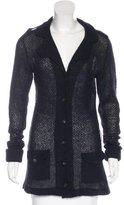 Burberry Mohair-Blend Open Knit Cardigan