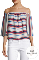 Lucca Couture Directional Striped Off The Shoulder Top