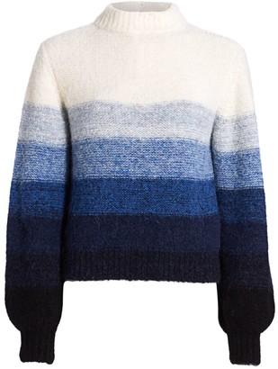 Akris Punto Horizontal Stripe Puff-Sleeve Stretch-Alpaca Wool Knit Sweater