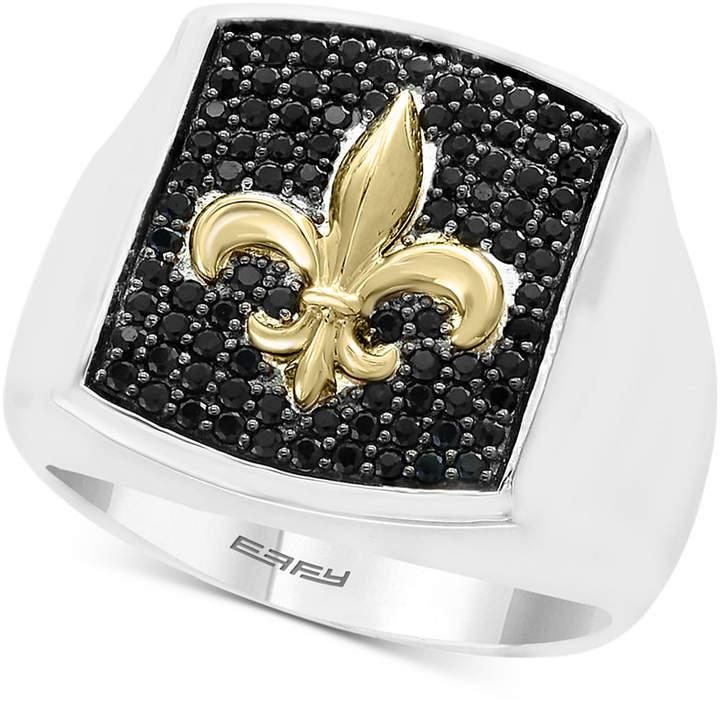 Effy Men's Black Sapphire Fleur-de-Lis Ring (9/10 ct. t.w.) in Sterling Silver & 18k Gold