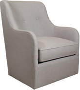 Horchow Cali St. Clair Light Gray Tweed Swivel Chair