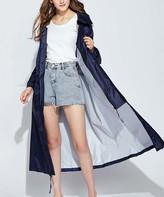 Kance Women's Rain Coats navy - Navy Hooded Swing Raincoat - Women & Juniors