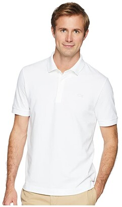 Lacoste Short Sleeve Solid Stretch Pique Regular (White) Men's Short Sleeve Pullover