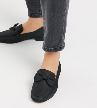 ASOS DESIGN Wide Fit Mable bow loafers in black