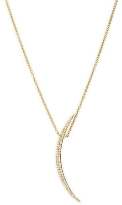 Celara 14K Yellow Gold & Diamond Long Crescent Moon Pendant Necklace