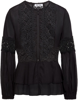 Charo Ruiz Ibiza Arae Crocheted Lace-paneled Cotton-blend Voile Peplum Jacket