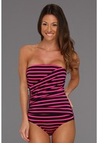 MICHAEL Michael Kors Jardin Stripe Shirred Zipper Bandeau Maillot w/ Removable Soft Cups Strap (Neon Pink) - Apparel