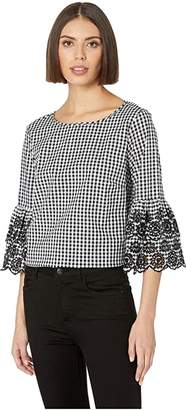 Tribal Gingham 3/4 Embroidered Sleeve Blouse