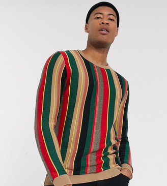 Asos Design DESIGN Tall jumper in textured vertical stripe in green and red-Multi
