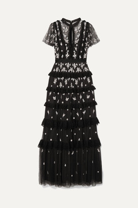 Needle & Thread Lace-trimmed Ruffled Embroidered Tulle Gown - Black