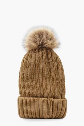 boohoo Rib Knit Beanie With Large Faux Fur Pom