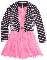 Beautees 2-Pc. Moto Jacket & Ballerina Dress Set, Big Girls