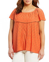 Multiples Plus Sleeveless Peasant Solid Eyelet Jacquard Knit Top