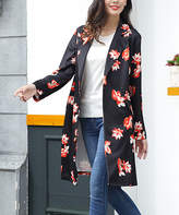Black Floral Single-Button Trench Coat - Plus Too