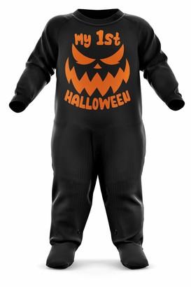 Purple Print House Baby My 1st Halloween Scary Pumpkin Romper Suit - Funny Halloween Jack O Lantern Baby 6-12 Months