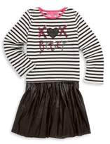 Betsey Johnson Little Girl's Two-Piece Striped Top & Perforated Skirt Set