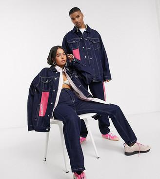 Collusion unisex plastisol branded denim jacket