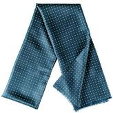 Black Vernazza French Blue Polka Dot Silk Scarf