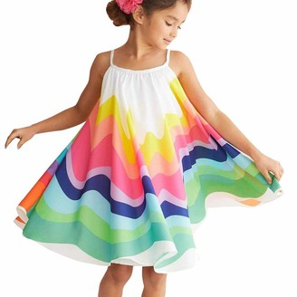 Armilum Baby Products Kids Girls Dress Girls Clothes Summer Toddler Baby Girls Sleeveless Rainbow Print Dress Vest Dresses Clothes Party Dresses for 1-5 Years Old Girls Sundress