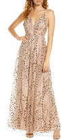 Lulus Embellished Mesh Open Back Gown