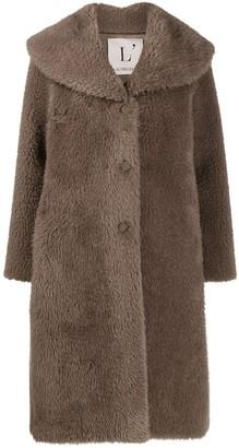 L'Autre Chose Faux Fur Single-Breasted Coat