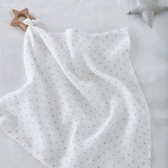 The White Company Muslin Comforter with Wooden Teether, White, One Size