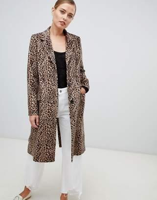 Helene Berman Leopard Print College Coat-Brown