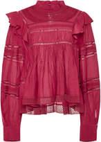 Etoile Isabel Marant Viviana Lace-Trimmed Cotton-Blend Blouse