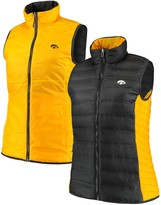 Columbia Unbranded Women's Black/Gold Iowa Hawkeyes Lake 22 Reversible Puffer Vest