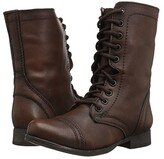 Steve Madden Troopa Combat Boot (Black Leather) Women's Lace up casual Shoes