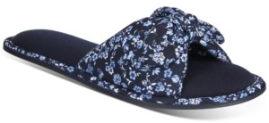 Charter Club Floral-Print Open-Toe Knot Slippers, Created for Macy's