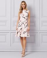Le Château Floral Print Twill Cutout Scoop Neck Dress