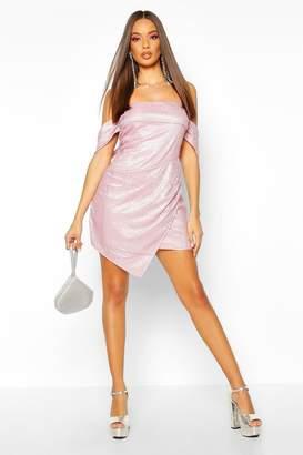 boohoo Glitter Sequin Bardot Panel Mini Dress