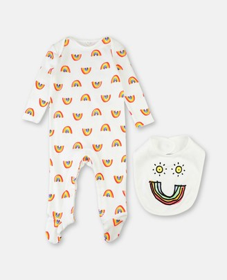 Stella McCartney Cotton Rib Rainbow Set Playsuit & Bib, Unisex