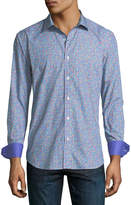 Bugatchi Shaped-Fit Micro-Floral Print Sport Shirt
