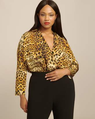 Cushnie Long Sleeved Deep V Blouson Style Bodysuit