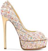Casadei tweed platform pumps - women - Leather/Polyester/Kid Leather - 35