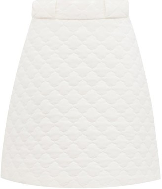 Fendi Quilted Washed Crepe De Chine Skirt - White