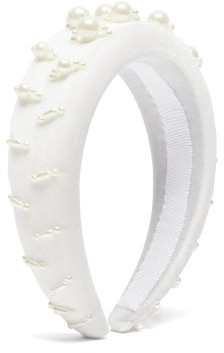House Of Lafayette - Lili 1 Embellished Padded-velvet Headband - White