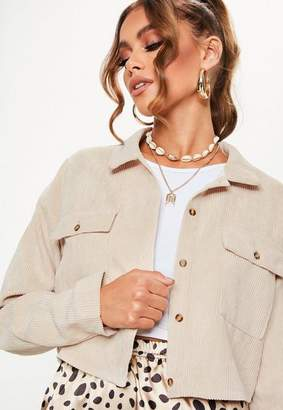 Missguided Petite Nude Cord Cropped Shirt